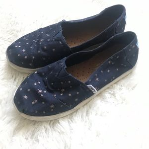 Kids 1.5 navy and gold star toms